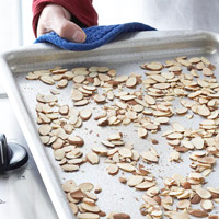 Toasting nuts in pan