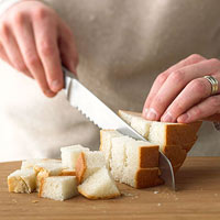 cutting bread cubes