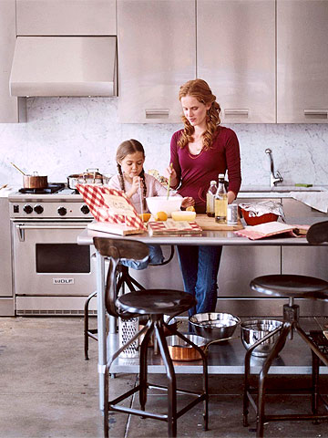 Woman and girl cooking in stainless steel kitchen