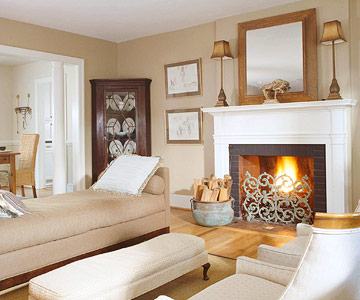 neutral living room with hearth
