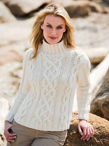 White Cable Sweater Free Knitting Pattern from the Womens sweaters Free Knitt...