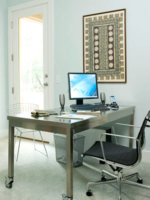 home office silver desk