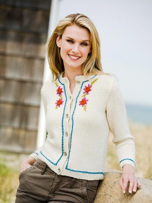 white sweater with flowers
