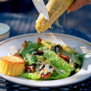 Barbecued Chicken Salad with Corn, Avocado, and Creamy Poblano Dressing