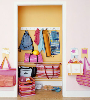 Closet Storage, Pink and Orange Kids Room