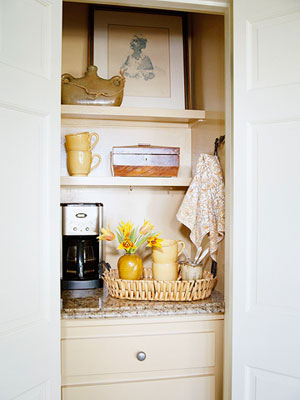 coffee maker nook inside closet
