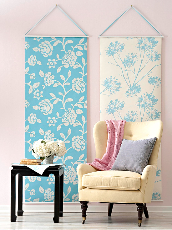 strips of wallpaper hung on dowels