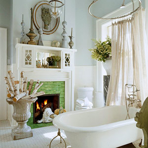 white fireplace with cabinets above