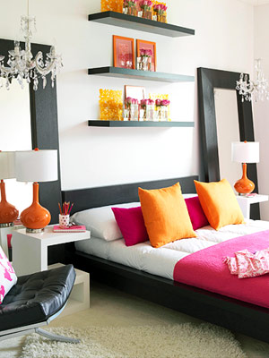 modern bedroom with orange accents