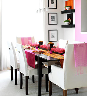 modern dining room with orange accents