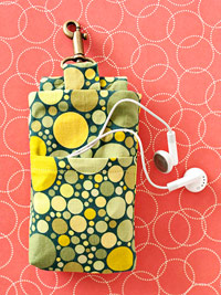ipod holder green and yellow