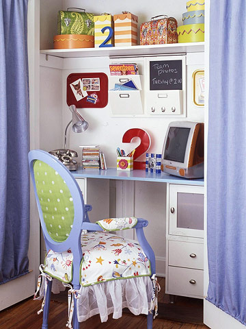 study table in a closet