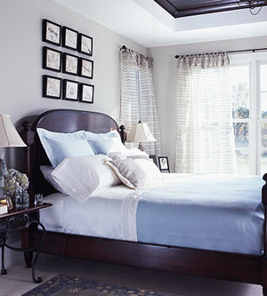 white bed with blue accents
