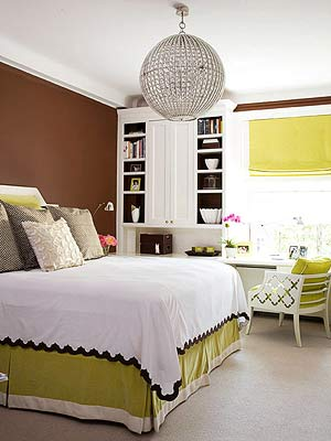 bedroom with lime green accents