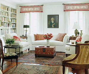 white room, red accents