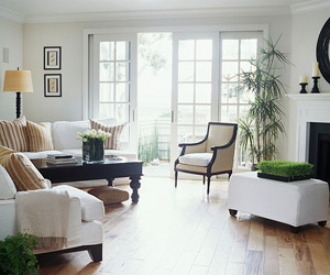 white room w/ french doors