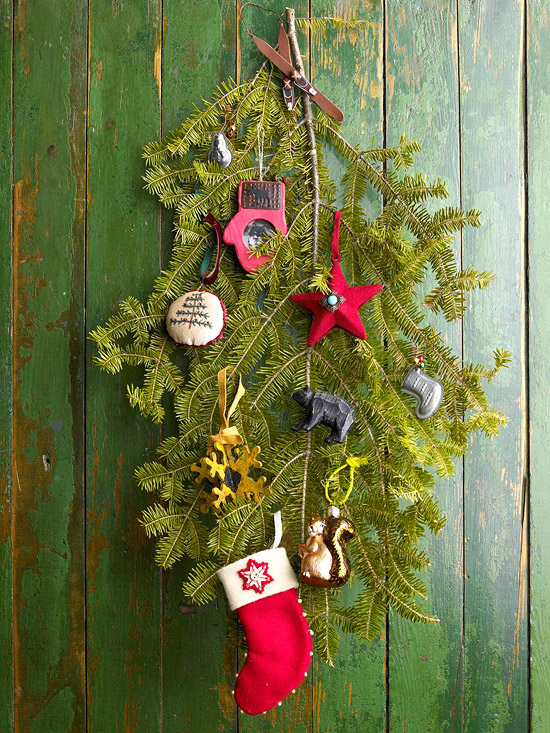 Greenery decoration on door with small stocking