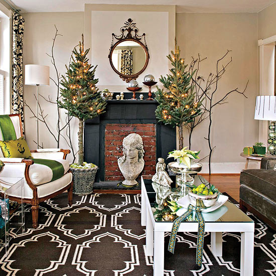 A bright green, white and brown themed holiday living room