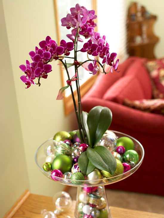 Holiday orchid stands tall in a vase filled with ornaments