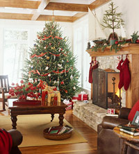 Beautiful woodwork  and stone fireplace in Christmas living room