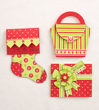 three closed holiday gift card holders