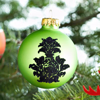 One hanging green & black ornament