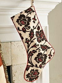 Small black and white floral stocking hanging alone