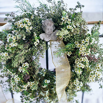 close-up of wreath