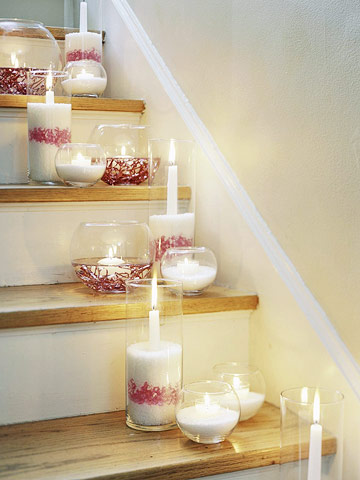 Candles lining stairs