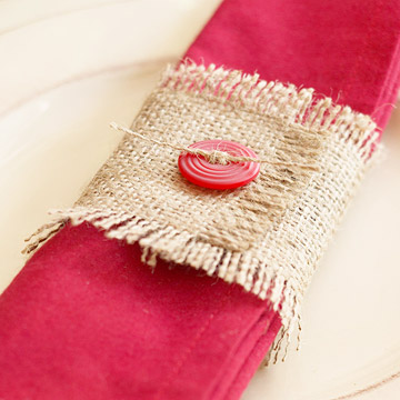 Closeup hot pink & burlap napkin