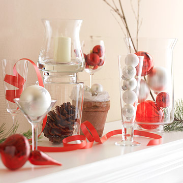 glassware, ribbon, twig, candle decoration