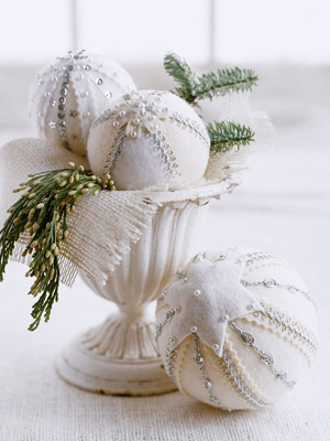 Urn filled with decorated white felt balls