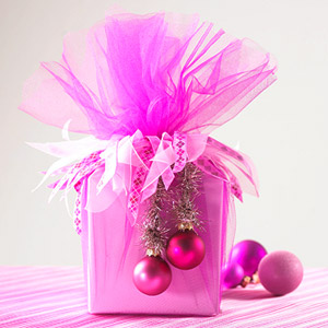 Decorated hot pink present