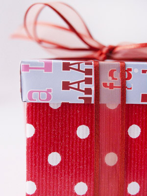 Present wrapped with two different patterned papers