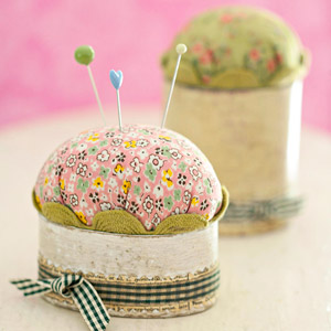 pin cushion w/ pink background