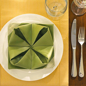 Table place setting with water lily folded napkin