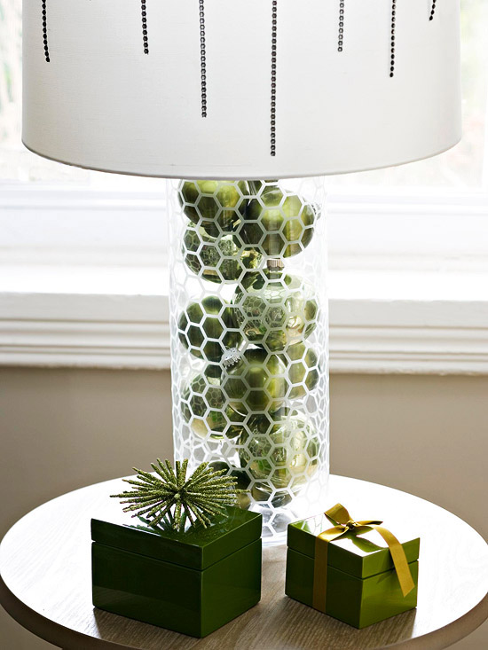 Ornaments in glass lamp