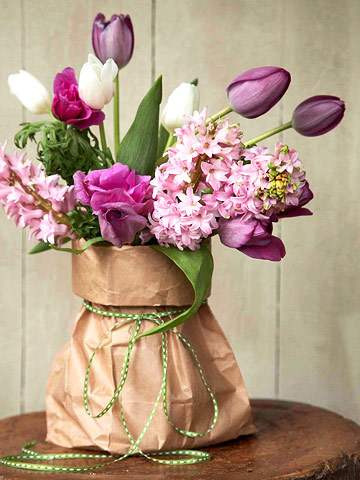 flowers in brown bag