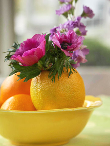 flowers in an orange