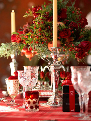 Red themed holiday table with glass goblets