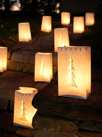 Row of paper luminaries