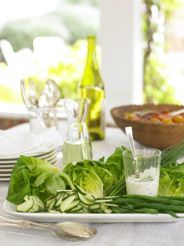 dinner table with salads