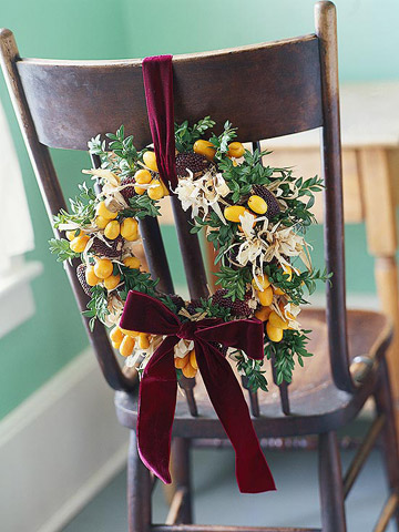 fruit and indian corn wreath