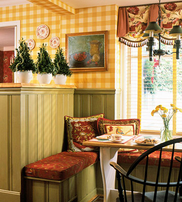 dining room with small Christmas trees