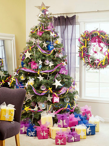 Christmas tree with purple and stars