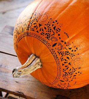 Black lace pattern on pumpkin