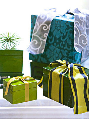 Lime green and blue gifts