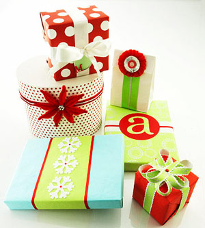 Red, green, & blue presents