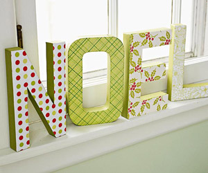 Big NOEL letters on sill
