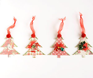 Row of Christmas tree ornaments